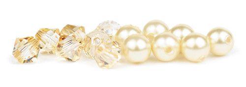 Ślubny naszyjnik na plecy - perły Swarovski Creamrose Light i kryształy Golden Shadow