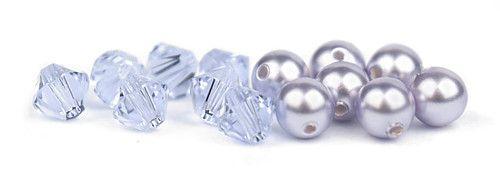 Ślubny naszyjnik na plecy - perły Swarovski Lavender i kryształy Provence Lavender