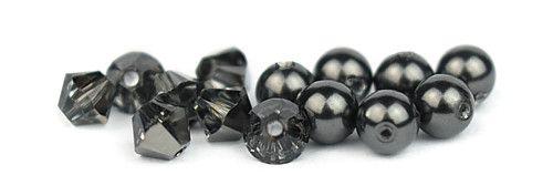 Ślubny naszyjnik na plecy - perły Swarovski Black i kryształy Silver Night