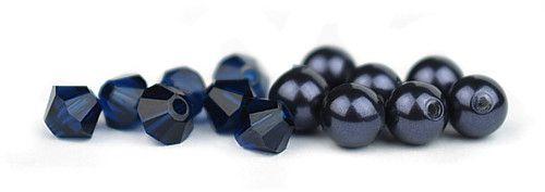Ślubny naszyjnik na plecy - perły Swarovski Night Blue i kryształy Dark Indigo