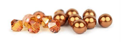 Ślubny naszyjnik na plecy - perły Swarovski Copper i kryształy Crystal Copper