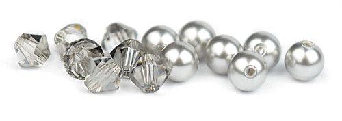 Ślubny naszyjnik na plecy - perły Swarovski Light Grey i kryształy Crystal Satin