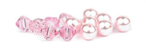 Ślubny naszyjnik na plecy - perły Swarovski Rosaline i kryształy Light Rose