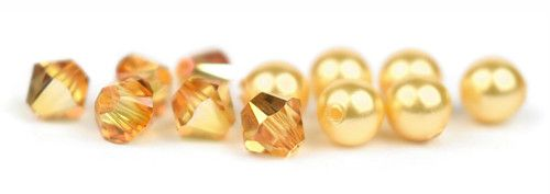 Ślubny naszyjnik na plecy - perły Swarovski Bright Gold i kryształy Metallic Sunshine