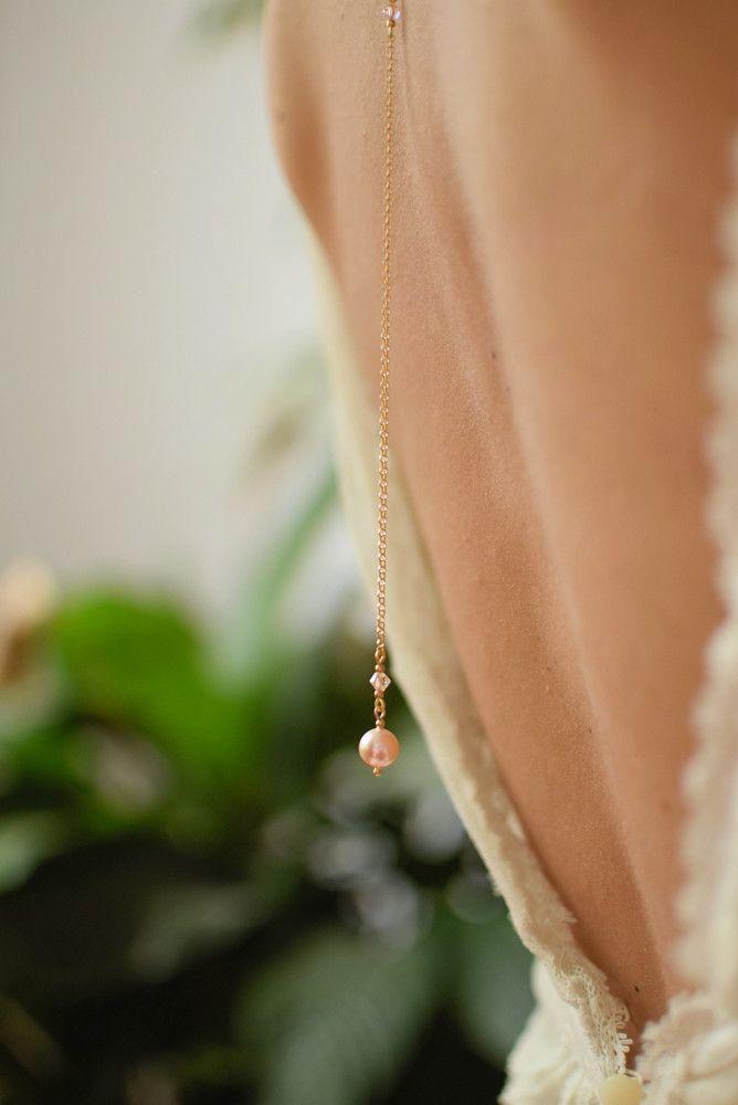 Panna Młoda - naszyjnik na plecy - ślubny - Swarovski Peach Pearl - brzoskwiniowe perły