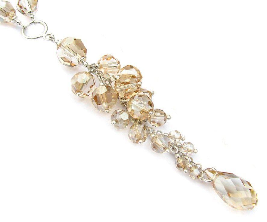 Złoty naszyjnik ślubny - gronka z kryształów Swarovski - Golden Shadow