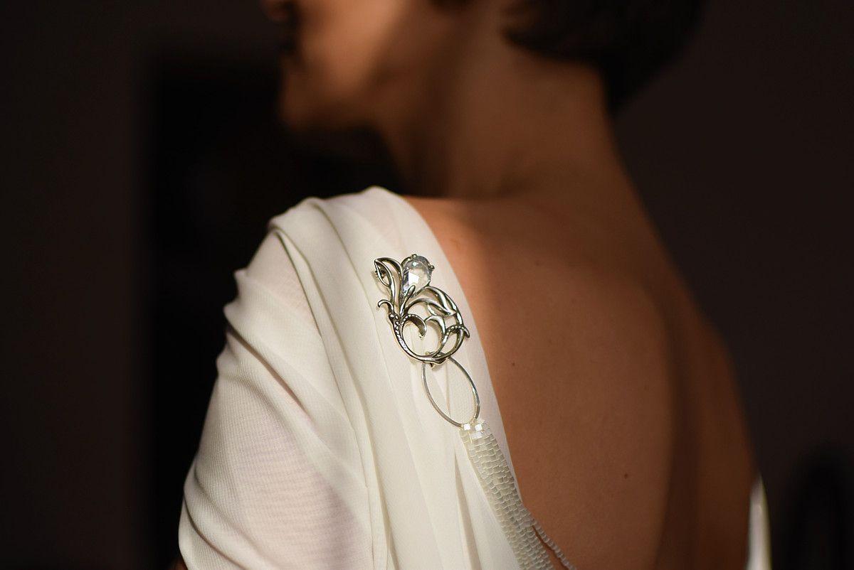 Naszyjnik na plecy - do ślubu - kryształy Swarovski Crystal Moonlight