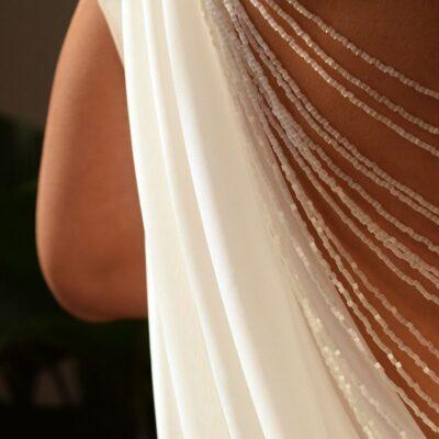 Ślubny naszyjnik na plecy - kryształy Swarovski Crystal Moonlight