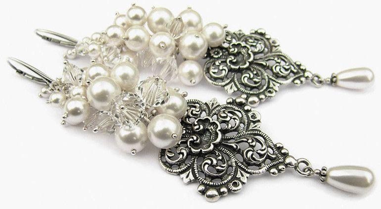 11d3dcd501b928 Bogate kolczyki ślubne z kryształami Swarovskiego i perłami Swarovski. Biżuteria  ślubna Anelle