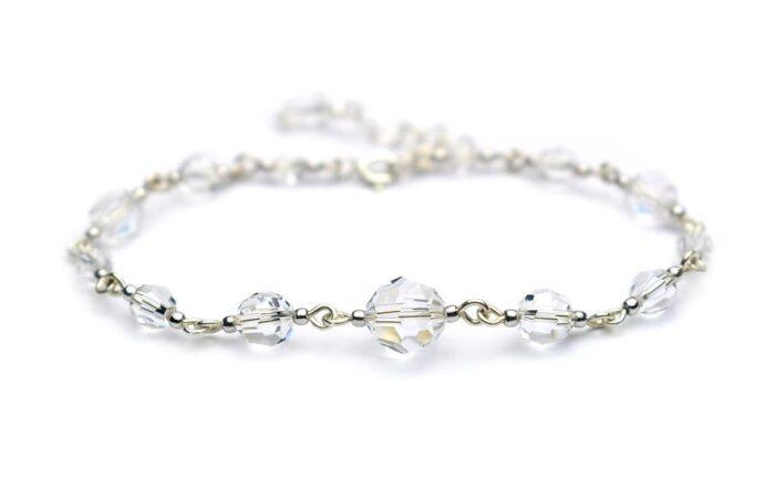 Kryształowa bransoletka ślubna - Swarovski Crystal i srebro