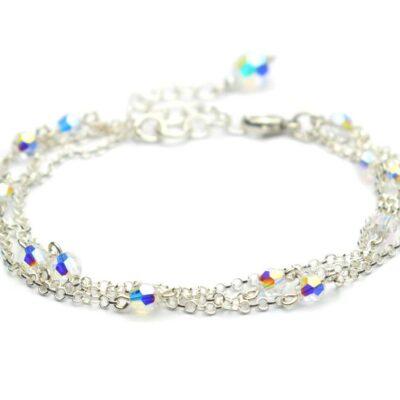 Bransoletka ślubna z trzema łańcuszkami i kryształami Swarovski Crystal AB