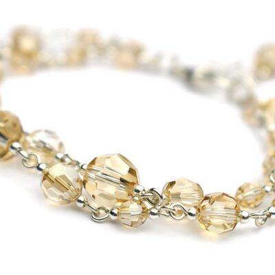 Złota bransoletka slubna - kryształy Swarovski