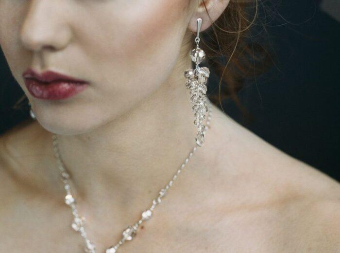 Ślubne kolczyki gronka - kryształy Swarovski Silver Shade