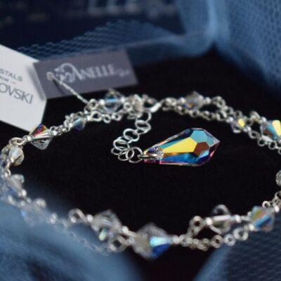 Podwójna bransoletka ślubna Gracefull - Swarovski Crystal AB
