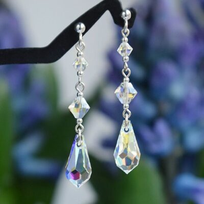 Długie kolczyki ślubne Graceful Classic - Swarovski Crystal AB