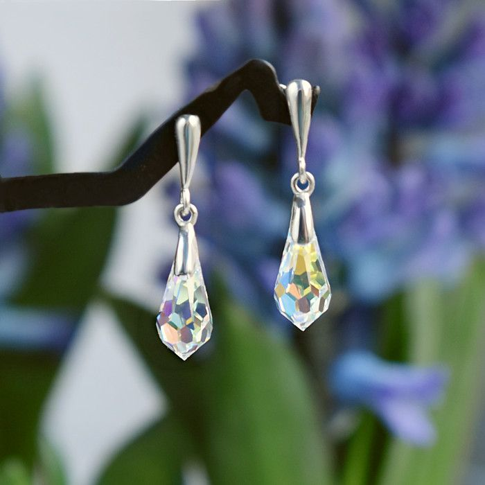 Krótkie kolczyki ślubne Graceful Classic - Swarovski Crystal AB