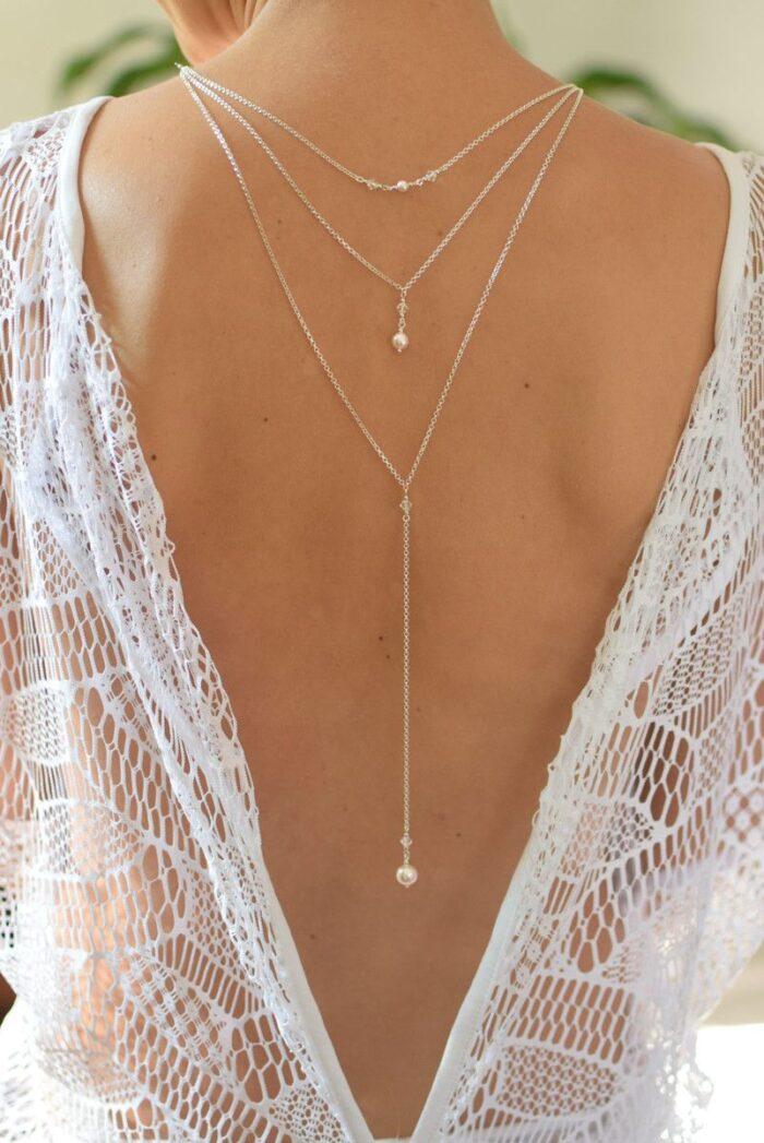 Naszyjnik na plecy do ślubu - Elize - Swarovski Crystal + White