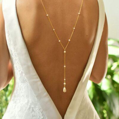 Pozłacany naszyjnik do ślubu - śmietankowy - perły Swarovski Light Creamrose