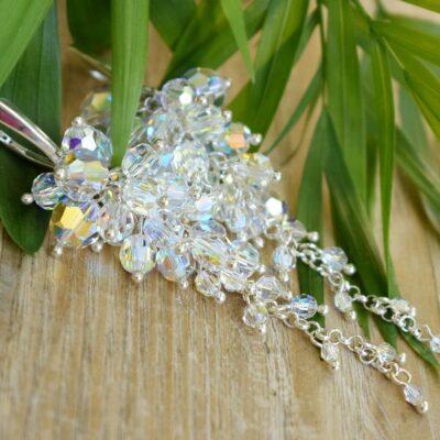 Kolczyki w formie winogron - Swarovski Crystal AB