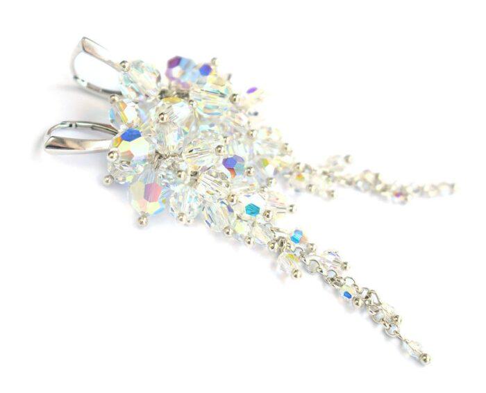 Kolczyki ślubne w odcieniu Crystal Aurore Boreale - Crystal AB - obfite grona