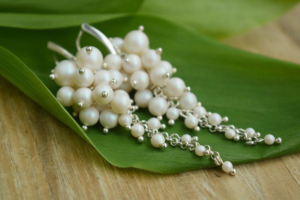 Długie perłowe kolczyki ślubne Eleanor Pearl - Swarovski Pearlescent White