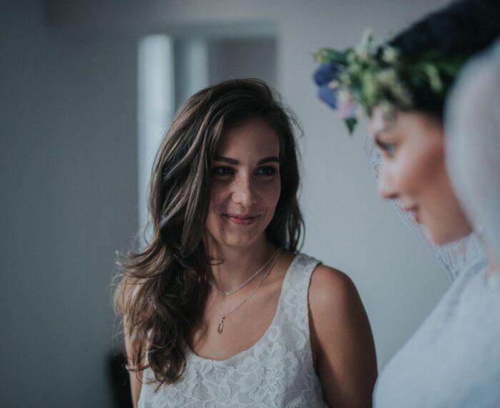 Ślubny naszyjnik na plecy retro Vivienne - krople Swarovski Elements i srebro