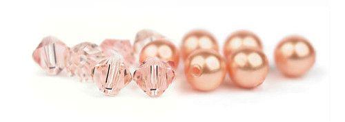 Ślubne kolczyki z perłami i kryształami - perły Swarovski Rose Peach i kryształy Vintage Rose