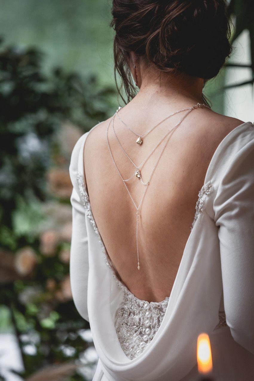 lŁańcuszek na plecy do ślubu - kryształy Swarovski Golden Shadow i srebro
