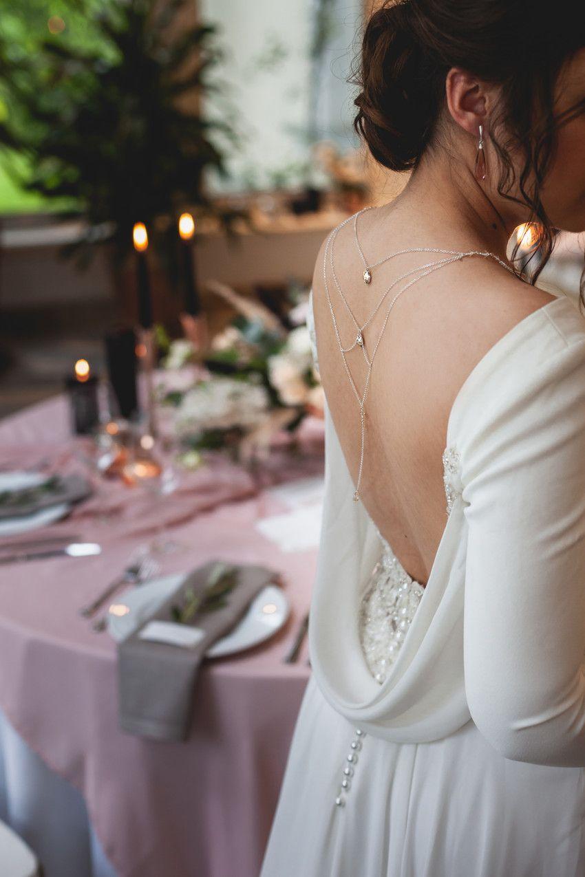 Srebrny łańcuszek na plecy do ślubu - kryształy Swarovski Golden Shadow