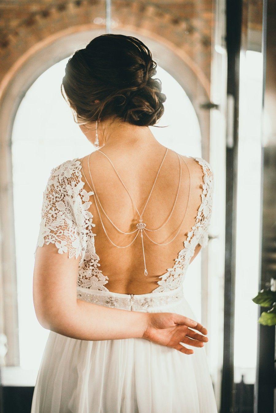 Łancuszek na plecy - do ślubu - Arabesque Crystal