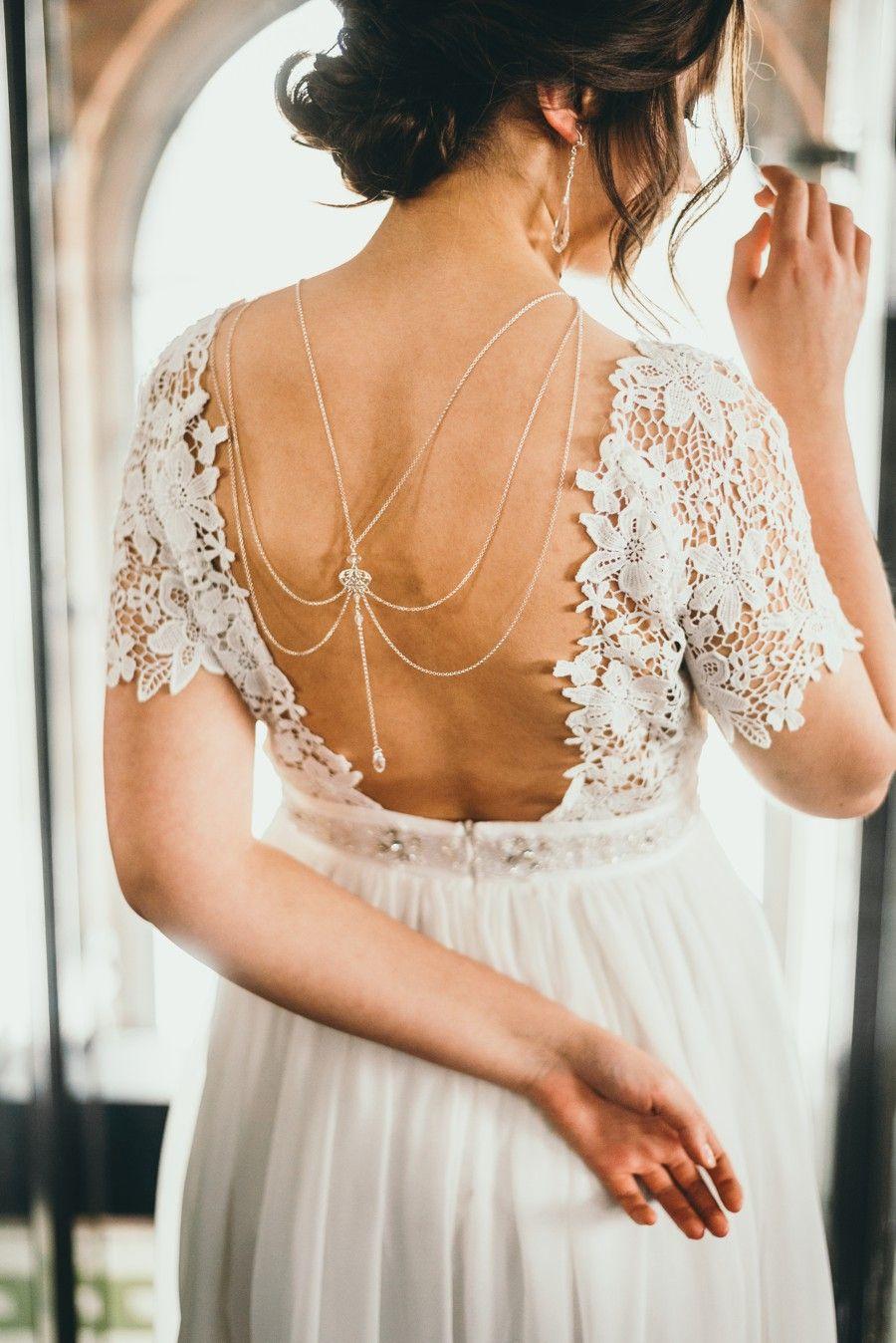 Łancuszki na plecy - do ślubu - Arabesque Crystal