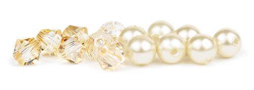 Naszyjnik na plecy - kolory pereł i krysztalów - Swarovski Golden Shadow oraz Light Creamrose - zestaw ecru