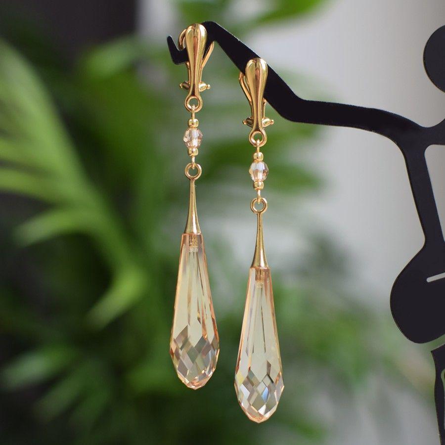 Długie złote klipsy ślubne z kryształami Swarovski Golden Shadow