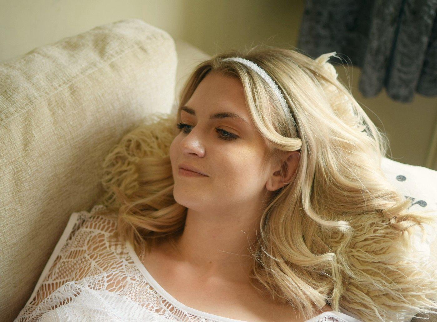 Ślubna opaska do włosów z koralikami - Charlotte