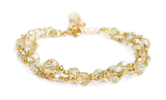 Podwójna złota bransoletka ślubna z kryształami Swarovski Golden Shadow - pozłacane srebro