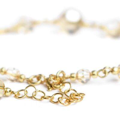 Delikatna złota bransoletka ślubna z kryształami Swarovski Golden Shadow - zapięcie z regulacją