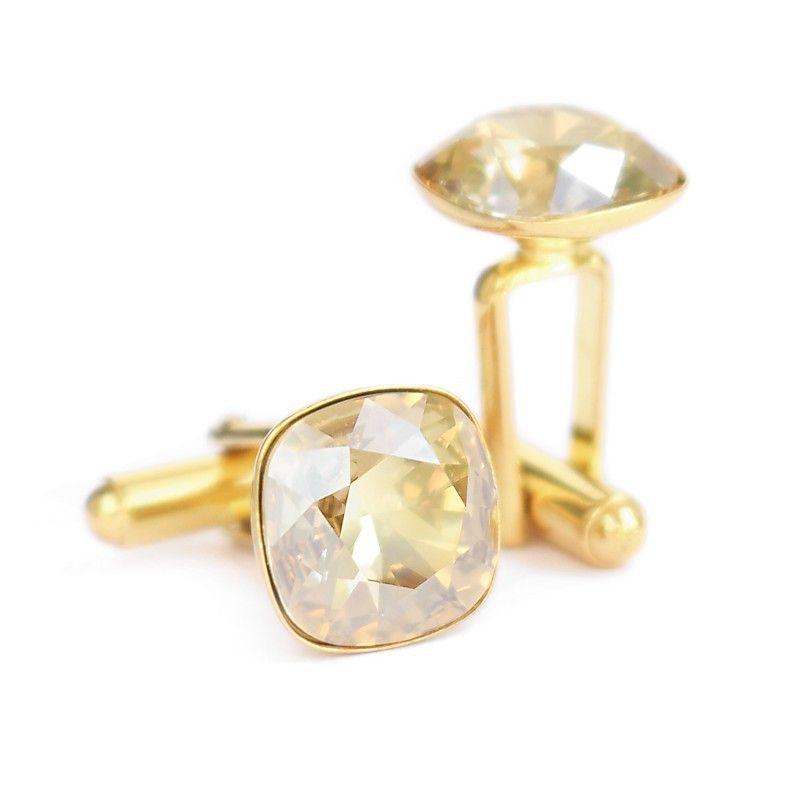 Pozłacane spnki do mankietów z kwadratowymi kryształami Swarovski Golden Shadow