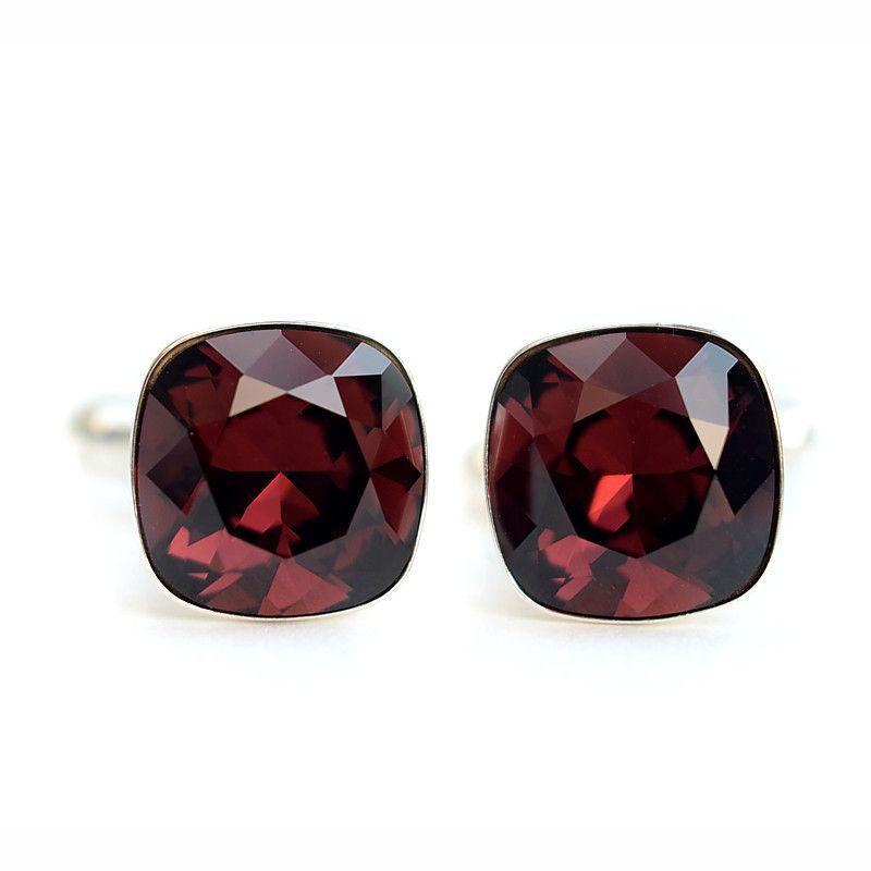 Burgundowe spinki ślubne do mankietów z kryształami Swarovski Burgundy - dla Pana Młodego lub świadka