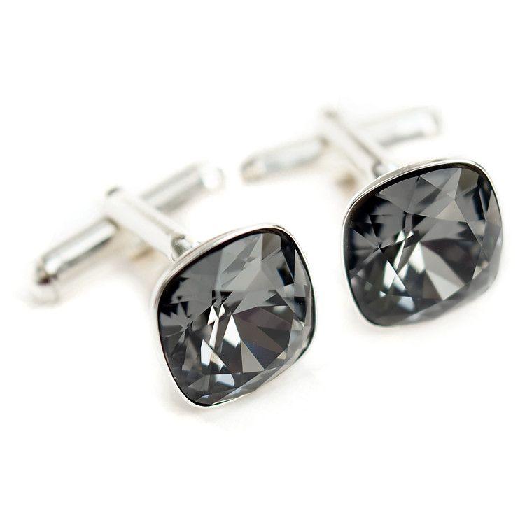 Grafitowe spinki ślubne do mankietów z kryształami Swarovski Black Diamond - dla Pana Młoego lub świadka