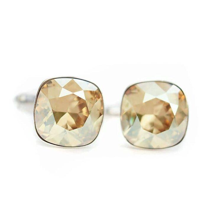 Złociste ślubne spinki do mankietów z kryształami Swarovski Golden Shadow - dla Pana Młodego lub świadka