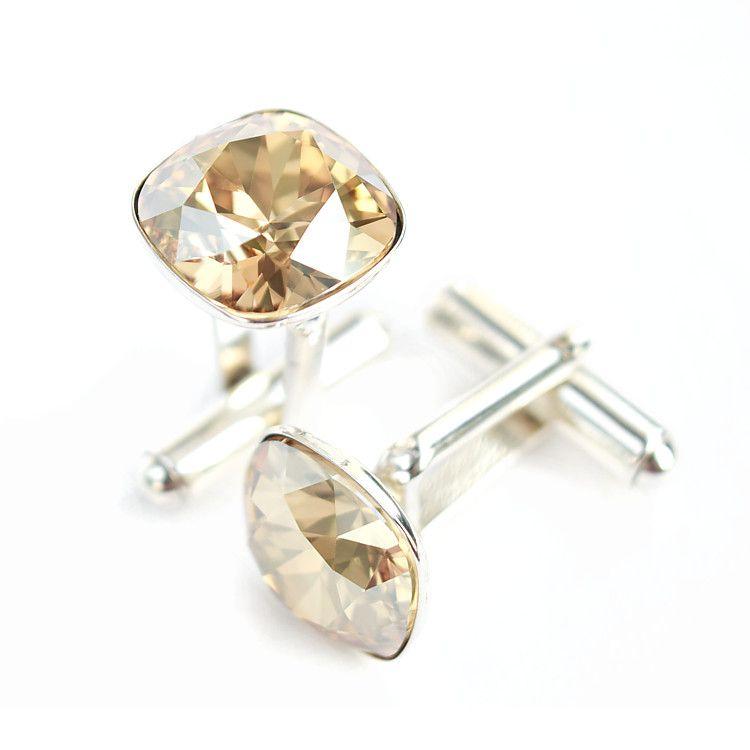 Złociste ślubne spinki do mankietów z kryształami Swarovski Golden Shadow - dla Pana Młoego lub świadka