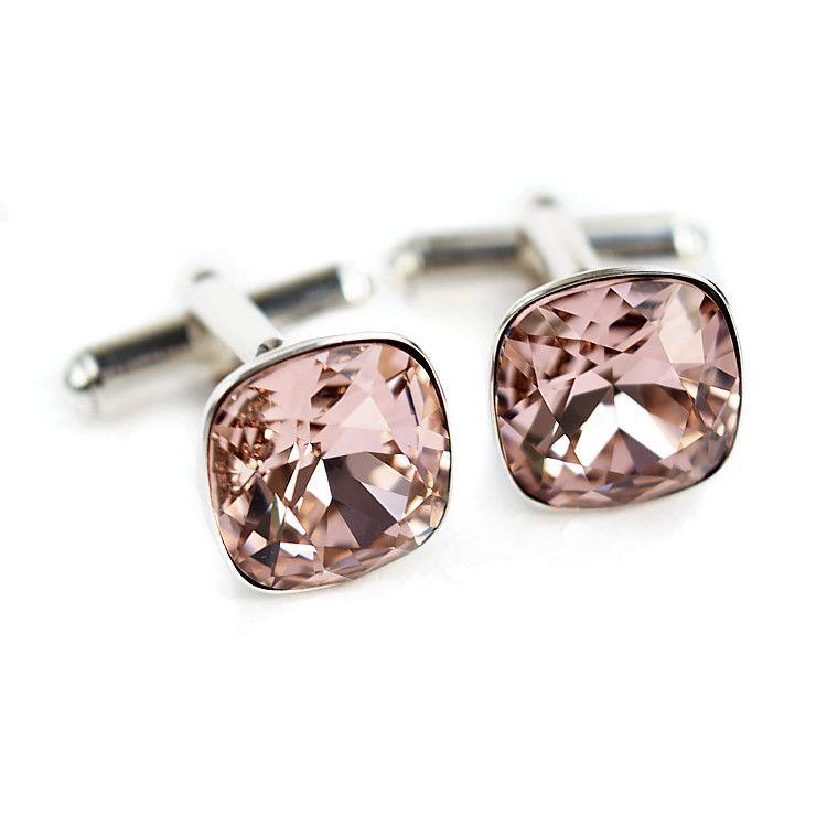 Ślubne spinki do mankietów w pudrowym różu z kryształami Swarovski Vintage Rose - dla Pana Młodego lub świadka