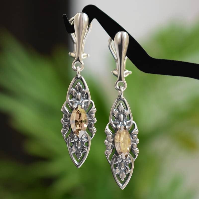Klipsy ślubne w stylu retro - stare srebro i złote kryształy Swarovskiego