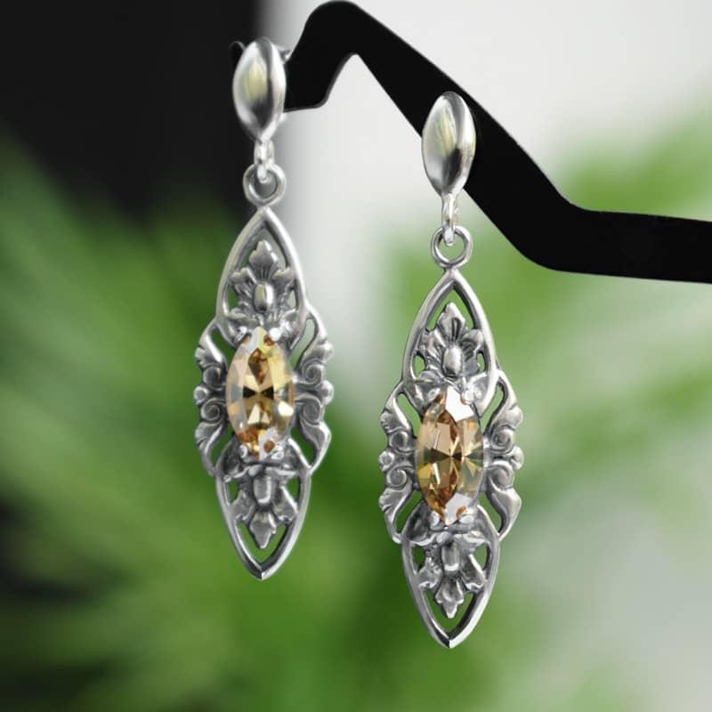 Kolczyki ślubne w stylu retro - stare srebro i złote kryształy Swarovski