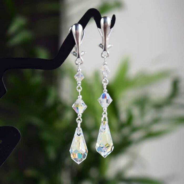 Długie klipsy ślubne ze srebra i kryształów Swarovski - Crystal AB