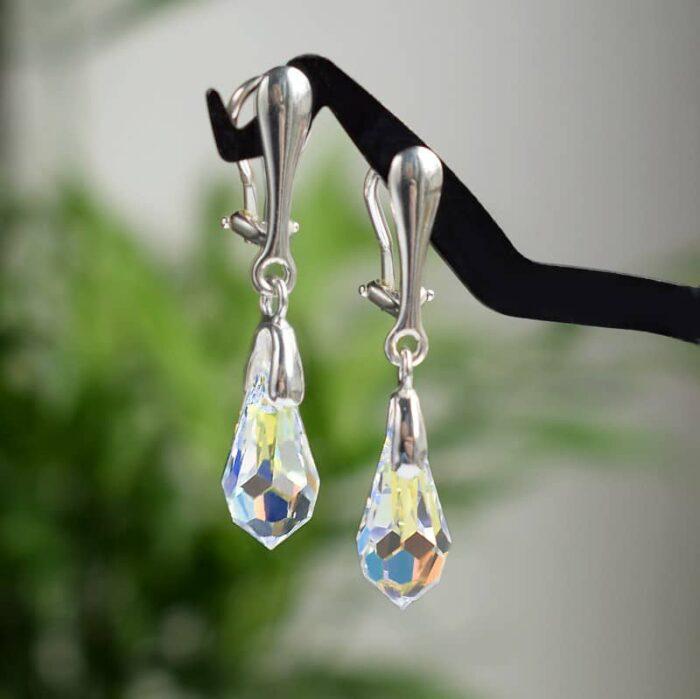 Krótkie klipsy ślubne ze srebra i kryształów Swarovski - Crystal AB