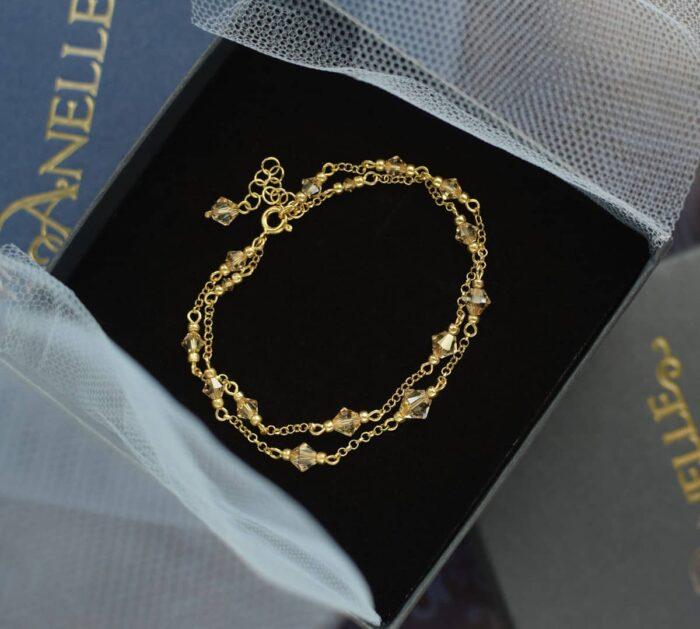 Podwójna, złota bransoletka ślubna z kryształami Swarovski Golden Shadow